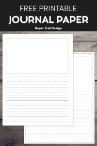 Lined writing paper with a drawing box on yellow background with two pencils with text overlay- free printable journal paper