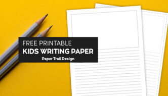 Printable lined writing paper for kids with a drawing box on yellow background with two pencils with text overlay- free printable kids writing paper