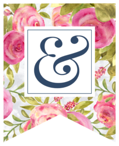 Pink floral rose banner with ampersand in white box