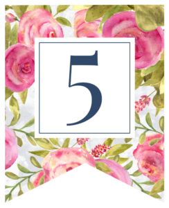 Pink floral rose banner flag with 5 in white box