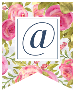 Pink floral rose banner with at sign in white box