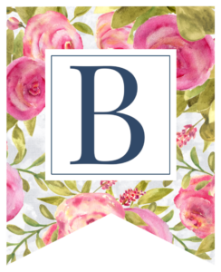 Pink floral rose banner flag with B in white box