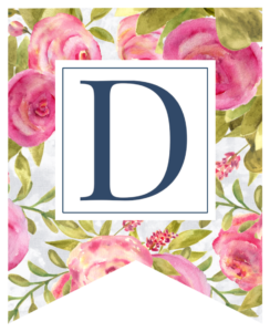 Pink floral rose banner flag with D in white box