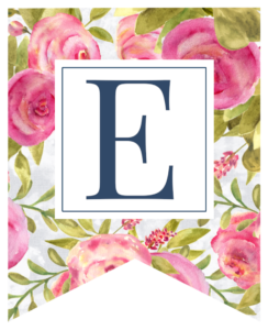 Pink floral rose banner flag with E in white box