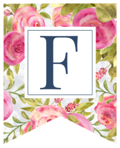 Pink floral rose banner flag with F in white box