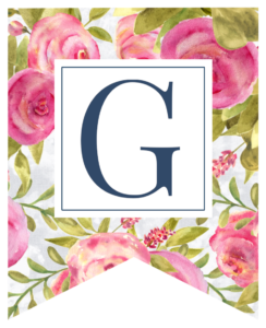 Pink floral rose banner flag with G in white box