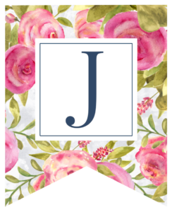 Pink floral rose banner flag with J in white box