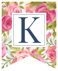 Pink floral rose banner flag with K in white box