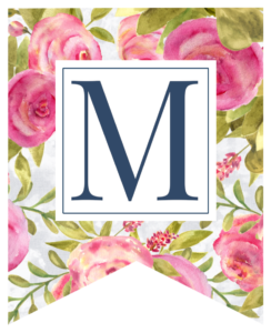 Pink floral rose banner flag with M in white box