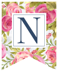 Pink floral rose banner flag with N in white box