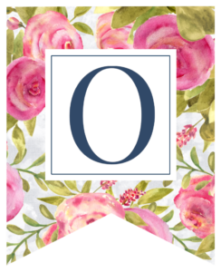 Pink floral rose banner flag with O in white box