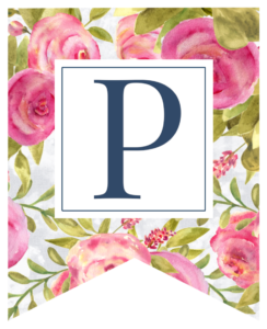 Pink floral rose banner flag with P in white box