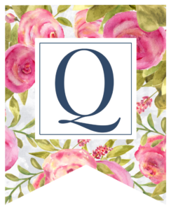 Pink floral rose banner flag with Q in white box