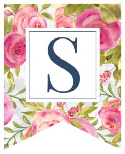 Pink floral rose banner flag with S in white box