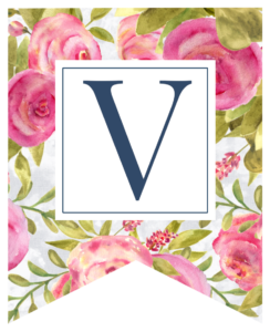 Pink floral rose banner flag with V in white box