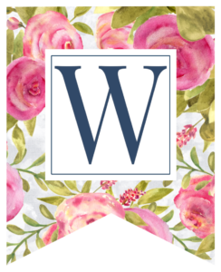 Pink floral rose banner flag with W in white box