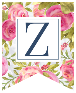Pink floral rose banner flag with Z in white box