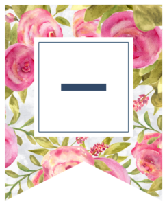 Pink floral rose banner flag with dash in white box