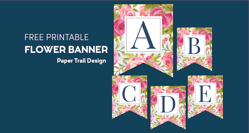 Pink floral banner flags with letters A, B, C, D, and E on a blue background with text overlay- free printable flower banner