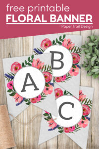 free printable floral alphabet letters with text overlay- free printable floral banner