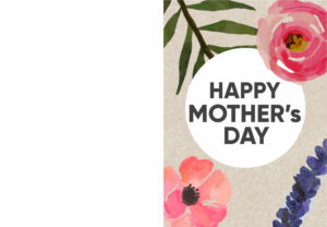 Foldable Mother's day card with pink and purple flowers and text- Happy Mother's Day