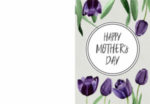 Foldable Mother's Day card with purple flowers and text- Happy Mother's Day