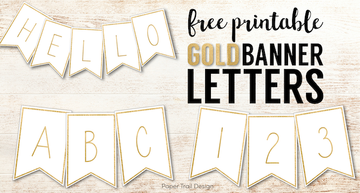 Gold banner letters with text overlay- free printable fold banner letters