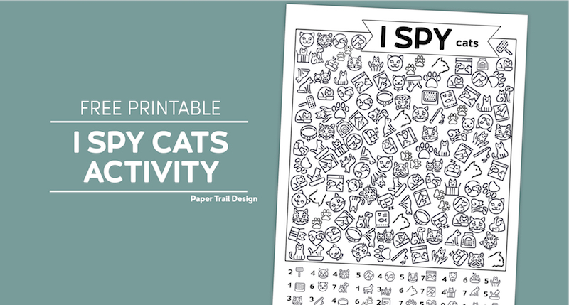 Cat themed I spy activity page on a turquoise background with text overlay- free printable I spy cats activity