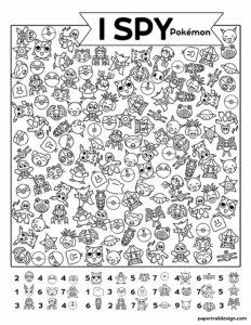 Pokémon themed I spy activity page