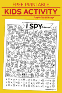 Pokémon themed I spy activity on yellow background with text overlay- free printable kids activity