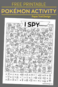 Pokémon themed I spy activity page on grey background with text overlay- free printable Pokémon activity