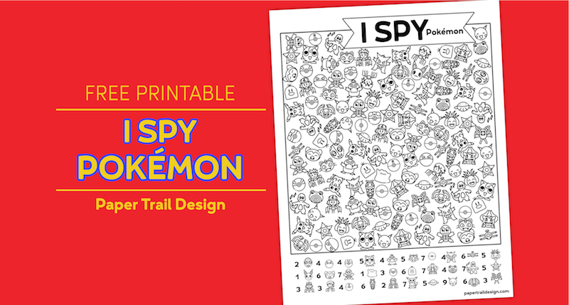 Pokémon themed I spy activity page on a red background with text overlay- free printable I spy pokémon