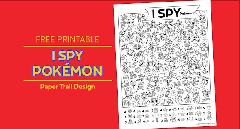 Pokémon themed I spy activity page on a red background with text overlay- free printable I spy pokémon