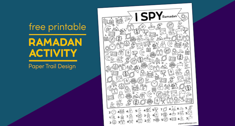 I spy Ramadan activity on purple and blue background with text overlay- free printable Ramadan activity