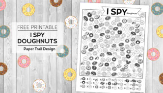 I spy donut themed activity page on a wood with doughnuts background with text overlay- free printable I spy doughnuts