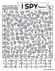 Flower themed I spy activity page with various black and white pictures of flowers scattered throught the page.