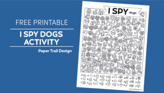 I spy dogs activity page on blue background with text overlay- free printable I spy dogs activity