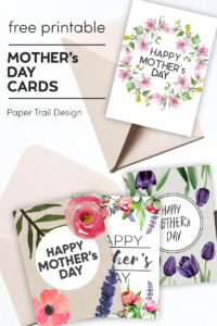Mother's Day cards with floral elements with brown envelopes with text overlay- free printable Mother's Day cards