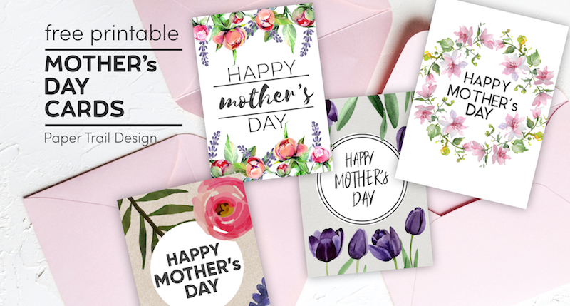 Mother's Day cards with floral elements with pink envelopes with text overlay- free printable Mother's Day cards