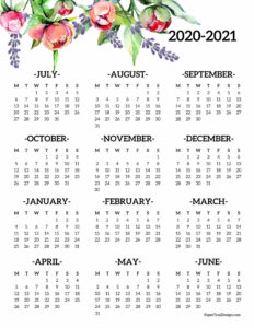 2020-2021 Monday start school year wall calendar with flowers