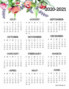 2020-2021 school year wall calendar with flowers