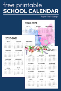 watercolor, floral, and plain calendar on a blue background with text overlay- free printable school calendar