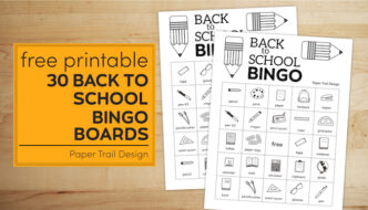 Two back to school bingo boards on a wood background with text overlay- free printable 30 back to school bingo boards
