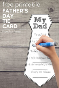 Father's Day tie card with kids hand holding a marker with text overlay- free printable Father's Day tie card