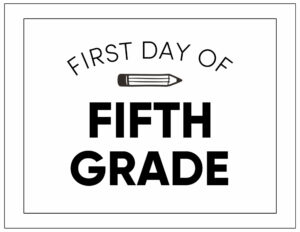 First day of fifth grade sign