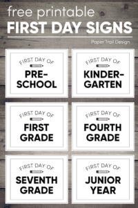 Collection of back to school signs for each grade on a wood background with text overlay- free printable first day signs