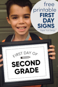 Boy holding framed first day of second grade sign with text overlay- free printable first day signs