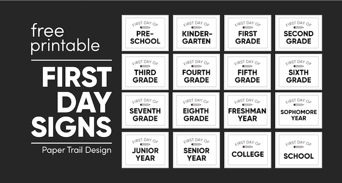 Collection of back to school signs for each grade on a black background with text overlay- free printable first day signs