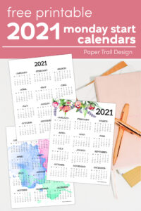 Three 2021 Monday start one page calendar designs with a notebook and gold pen with text