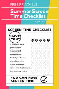 screen time checklist on pink, yellow, and orange background with text overlay- free printable screen time checklist